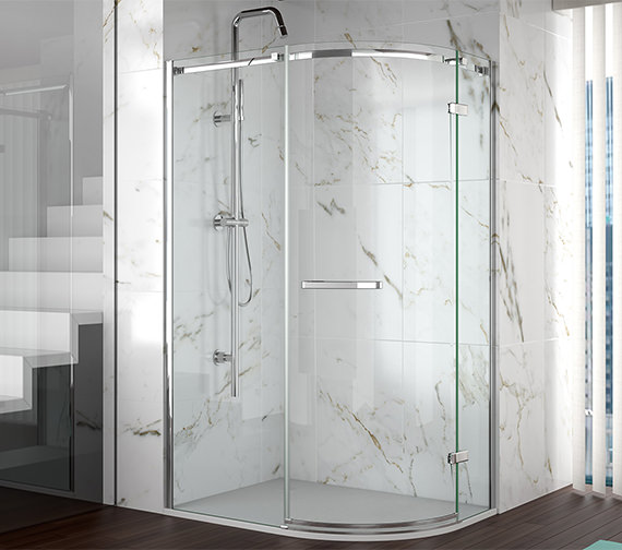 Merlyn 8 Series Frameless 1 Door Offset Shower Quadrant 900 x 760mm