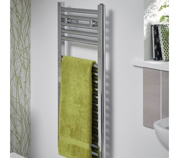 Essential Space Saving Chrome 400 x 1230mm Straight Towel Warmer