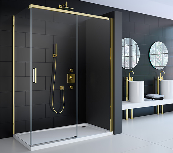 Beta Heat Electric 1150 X 600mm Curved Chrome Heated Towel: Merlyn 8 Series Gold Sliding Door 1200mm