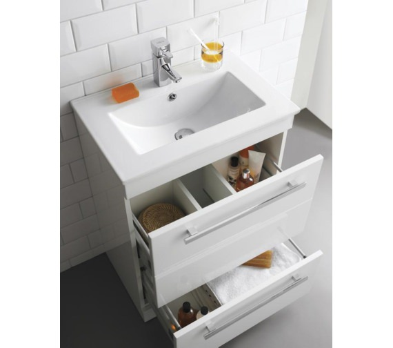 Premier Warner 600mm Floor Standing 2 Drawer Vanity Unit And Basin