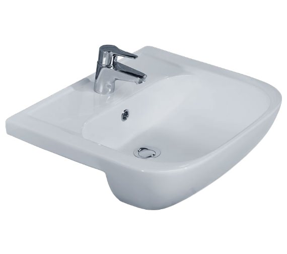 Essential Fuchsia Semi Recessed Basin With 1 Tap Hole - 550mm