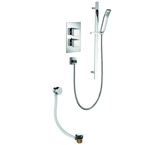 Pura Bloque2 Twin Outlet Thermostatic Valve With Slide Rail Kit And Filler