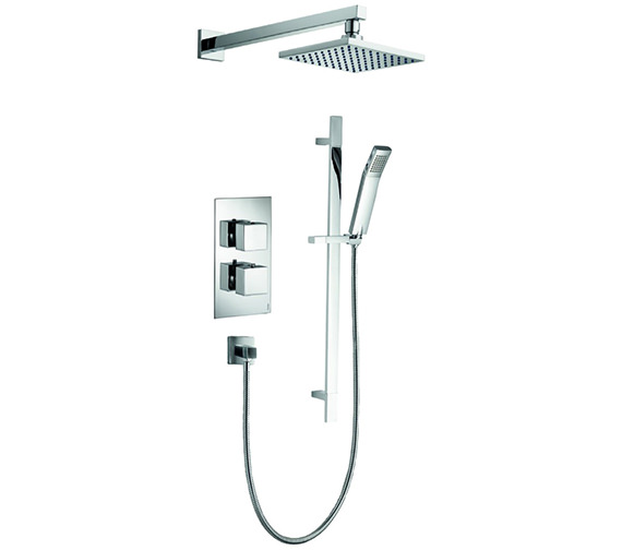 Pura Bloque2 Twin Outlet Thermostatic Valve With Head And Slide Rail Kit
