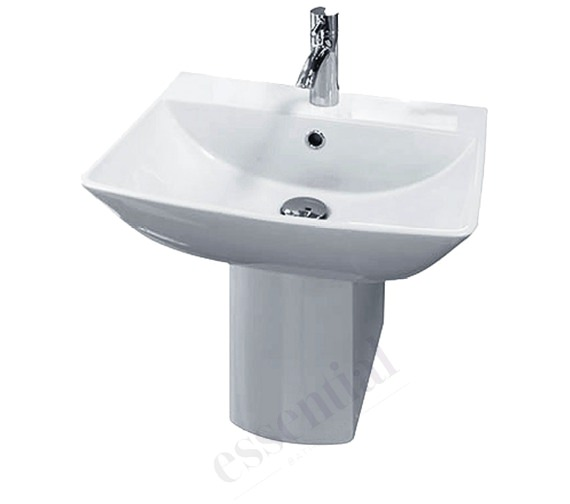 Essential Jasmine Basin And Semi Pedestal - 500mm Wide
