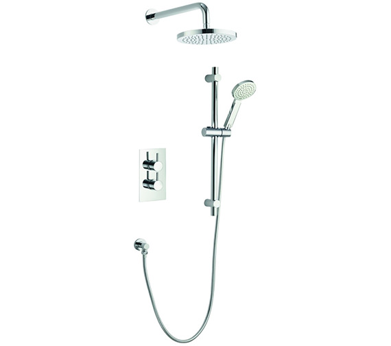 Pura Arco Twin Outlet Thermostatic Valve With Head And Slide Rail Kit
