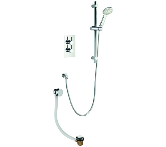 Pura Arco Twin Outlet Thermostatic Valve With Slide Rail Kit And Bath Filler
