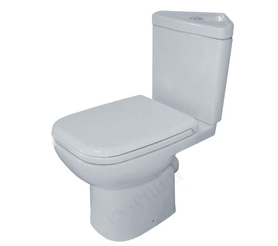 Essential Violet Corner Close Coupled WC Pan With Cistern And Seat