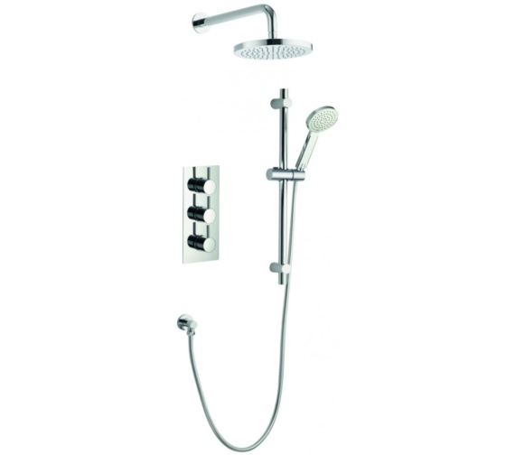 Pura Arco Triple Thermostatic Valve With Head And Slide Rail Kit