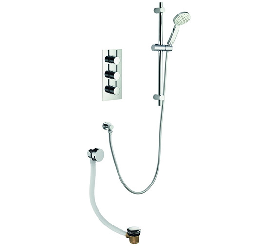 Pura Arco Triple Thermostatic Valve With Slide Rail Kit And Bath Filler