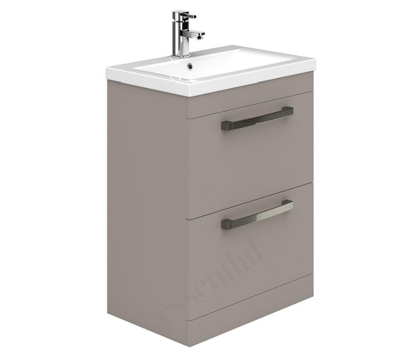 Alternate image of Essential Nevada 600mm 2 Drawer Grey Vanity Unit And Basin