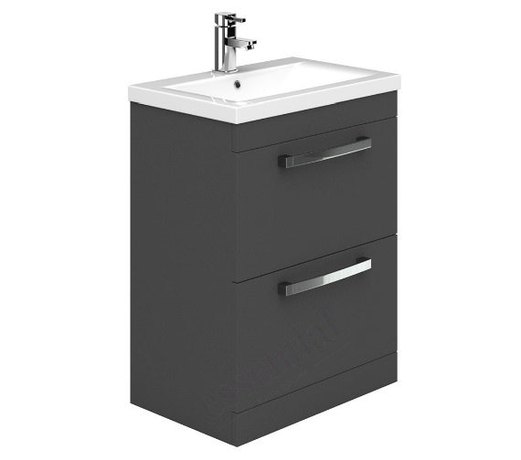 Essential Nevada 600mm 2 Drawer Grey Vanity Unit And Basin