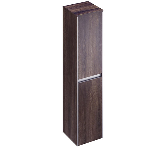 Pura Xcite 350 x 1500mm Double Door Tall Storage Unit Dark Oak Finish