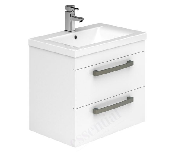 Alternate image of Essential Nevada Grey 600mm Wall Mounted 2 Drawers Vanity Unit And Basin