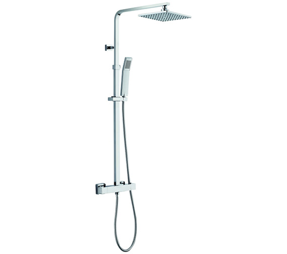 Pura Bloque2 Thermostatic Bar Valve With Rigid Riser Fixed Head And Handset