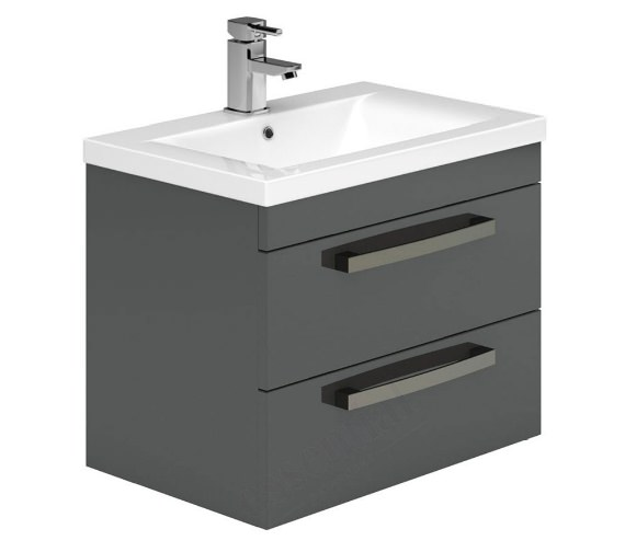 Essential Nevada 800mm 2 Drawers Wall Hung Grey Vanity Unit And Basin