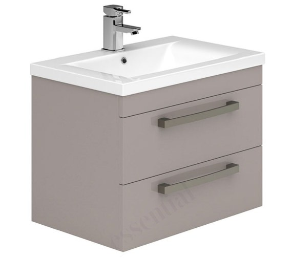 Alternate image of Essential Nevada 800mm 2 Drawers Wall Hung Grey Vanity Unit And Basin