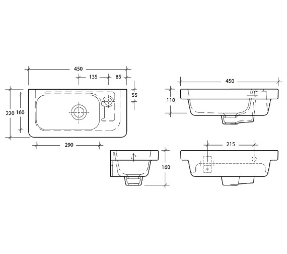 Additional image of Essential IVY 360mm Slimline Wall Hung Basin With 1 Tap Hole on Right Hand