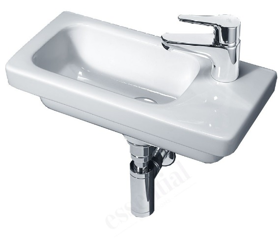 Essential IVY 450mm Slimline Wall Mounted Basin With 1 RH Tap Hole