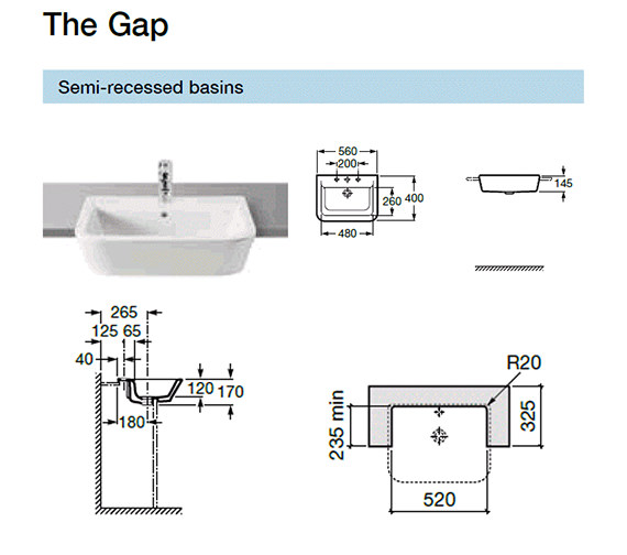 Additional image of Roca The Gap White Semi-Recessed Basin 560mm Wide - 32747S000