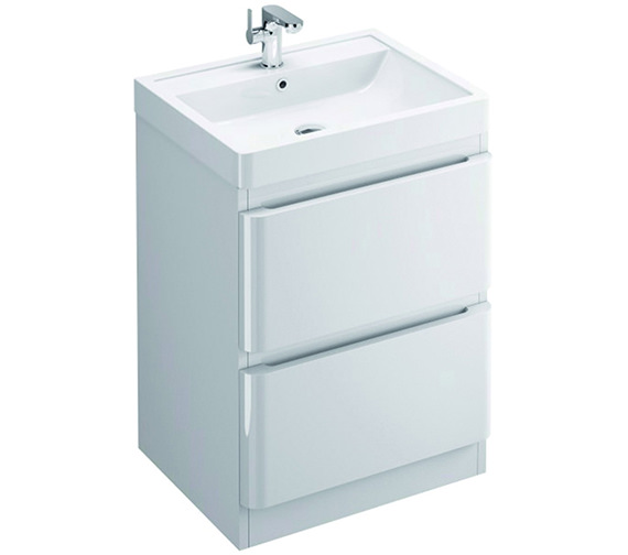 Pura Flite 600mm Double Drawer Floor Standing Unit And Basin