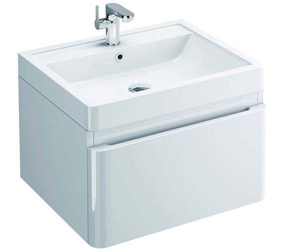 Pura Flite 900mm Wall Hung Single Drawer Unit And Basin