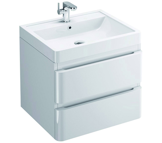Pura Flite Wall Hung Double Drawer Unit And Basin 600mm