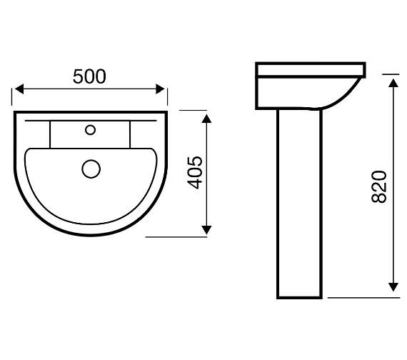 Aqva Dorro Elegant 500mm Washbasin And Pedestal