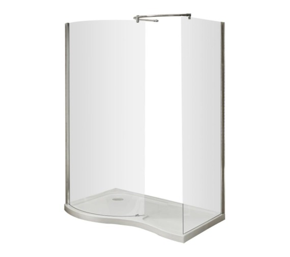 Beo Curved Walk-In Shower Enclosure And Left Hand Tray 1400 x 906mm