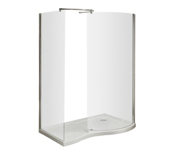 Beo Curved Walk-In Shower Enclosure And Right Hand Tray 1400 x 906mm