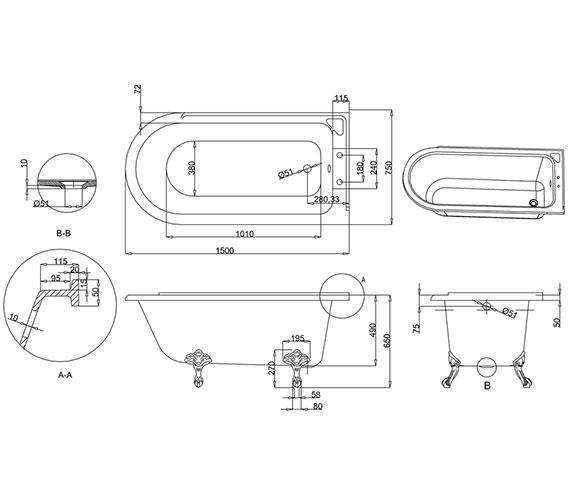 Additional image of Burlington Hampton 1500 x 750mm Freestanding Bath