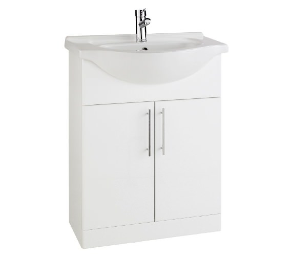 Aqva New York White Bathroom Vanity Unit And Basin 600mm