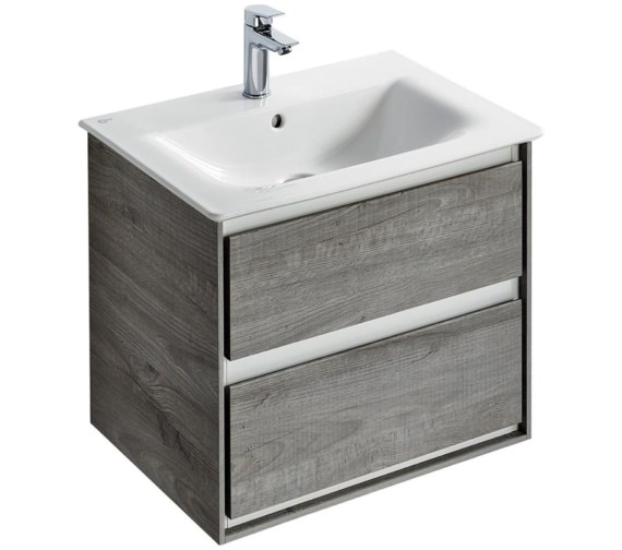 Ideal Standard Concept Air 600mm Wall Hung 2 Drawers Light Grey Vanity Unit