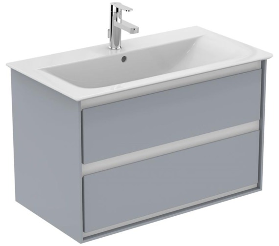 Ideal Standard Concept Air 800mm Wall Hung 2 Drawers Gloss Grey Vanity Unit