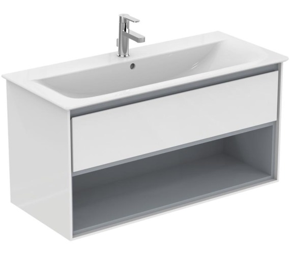 Ideal Standard Concept Air 1000mm Wall Hung 1 Drawer With Open Shelf Gloss White Vanity Unit