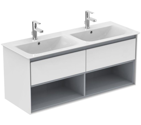 Ideal Standard Concept Air 1200mm Wall Hung 2 Drawers With Open Shelf Gloss White Vanity Unit
