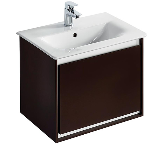 Ideal Standard Concept Air 500mm Wall Hung 1 Drawer Matt Dark Brown Vanity Unit