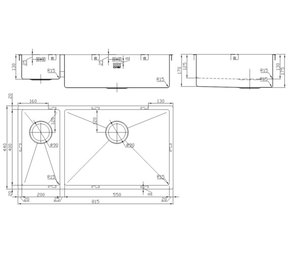 Technical drawing QS-V9138 / ZD/2055/U15/S/BBR/151