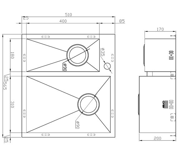Technical drawing QS-V9140 / ZD/1831/IF/S/BBR/005