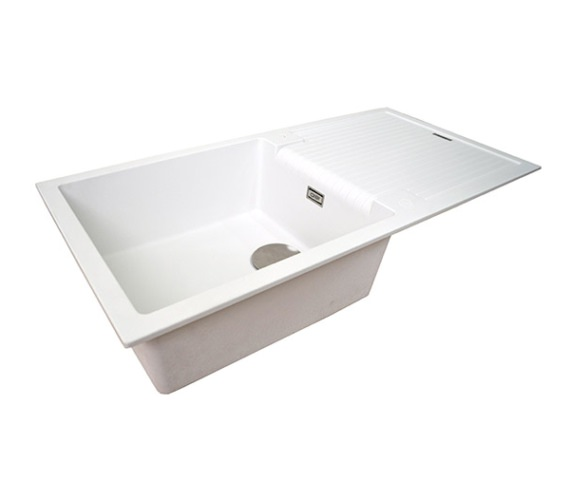 1810 Company Purquartz Sharduno 100i White 1.0 Bowl Sink With Drainer