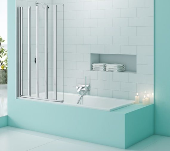 Merlyn SecureSeal 5 Fold Bath Screen 1000 x 1500mm