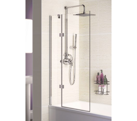 Lakes Coastline 8mm Glass Square Double Panel Hinged Bath Screen - 1500mm Height