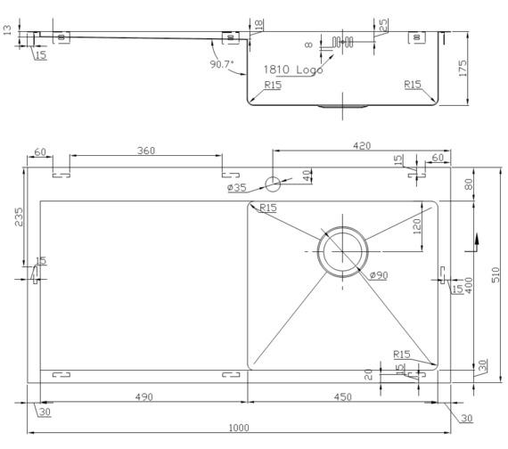 Technical drawing QS-V9152 / ZU/5/IF/U15/S/BBR/152