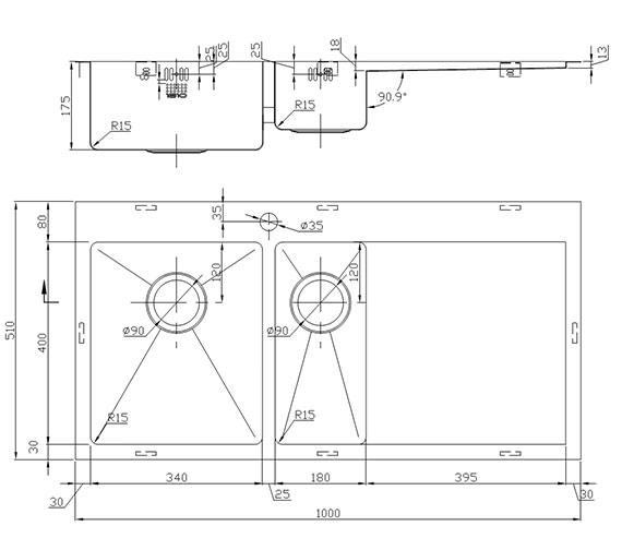 Technical drawing QS-V9155 / ZD/6/IF/U15/S/BBL/155