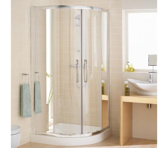 Lakes Mirror Glass Single Rail Offset Quadrant Shower Enclosure 900 x 800mm