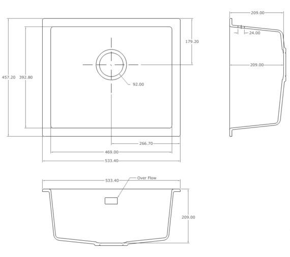 Technical drawing QS-V10981 / CU/46/U/PQ/WH/701