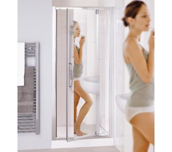 Lakes Mirror Glass 900mm Semi-Frameless Pivot Shower Door