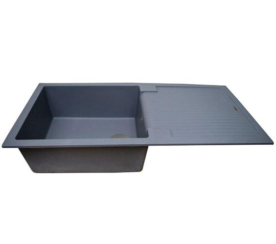 Additional image of 1810 Company Purquartz Sharduno 100i 1.0 Bowl Sink Grey With Drainer Black