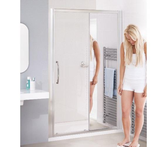 Lakes Mirror Glass 1100mm Semi-Frameless Slider Shower Door