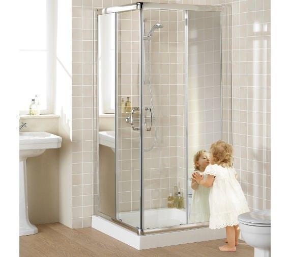 Lakes Mirror Glass 900mm Semi-Frameless Corner Entry Shower Enclosure