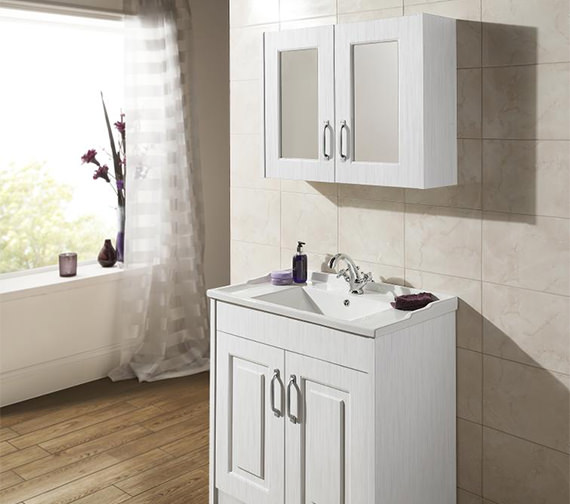 Premier York Porcelain White Ash 800mm 2 Door Mirror Cabinet